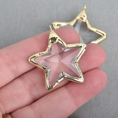 1 Crystal STAR Drop Pendant, Clear Glass, Faceted, GOLD, 1.5
