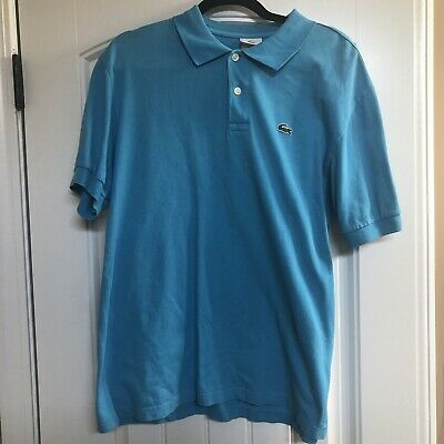 LACOSTE Mens Aqua Blue Polo Shirt  Size 8 XL Embroidered Gator EUC