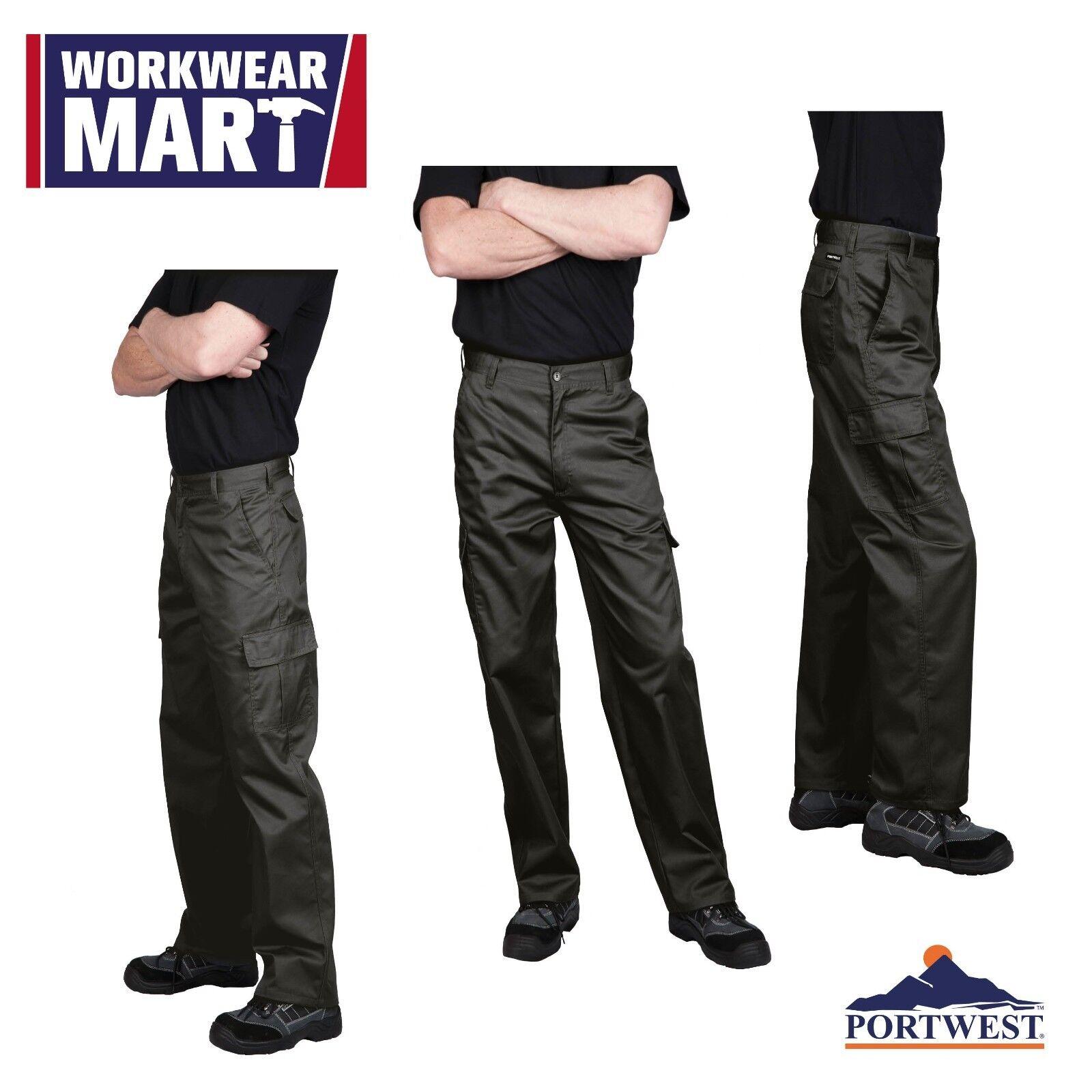 Portwest C701 Cargo Work Pants for Men, in Navy & Black: sizes 30-48