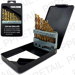 13Pc-QUALITY-TITANIUM-HSS-TWIST-DRILL-BIT-SET-1-5-6-5mm-CASE-Plastic-Wood-Metal