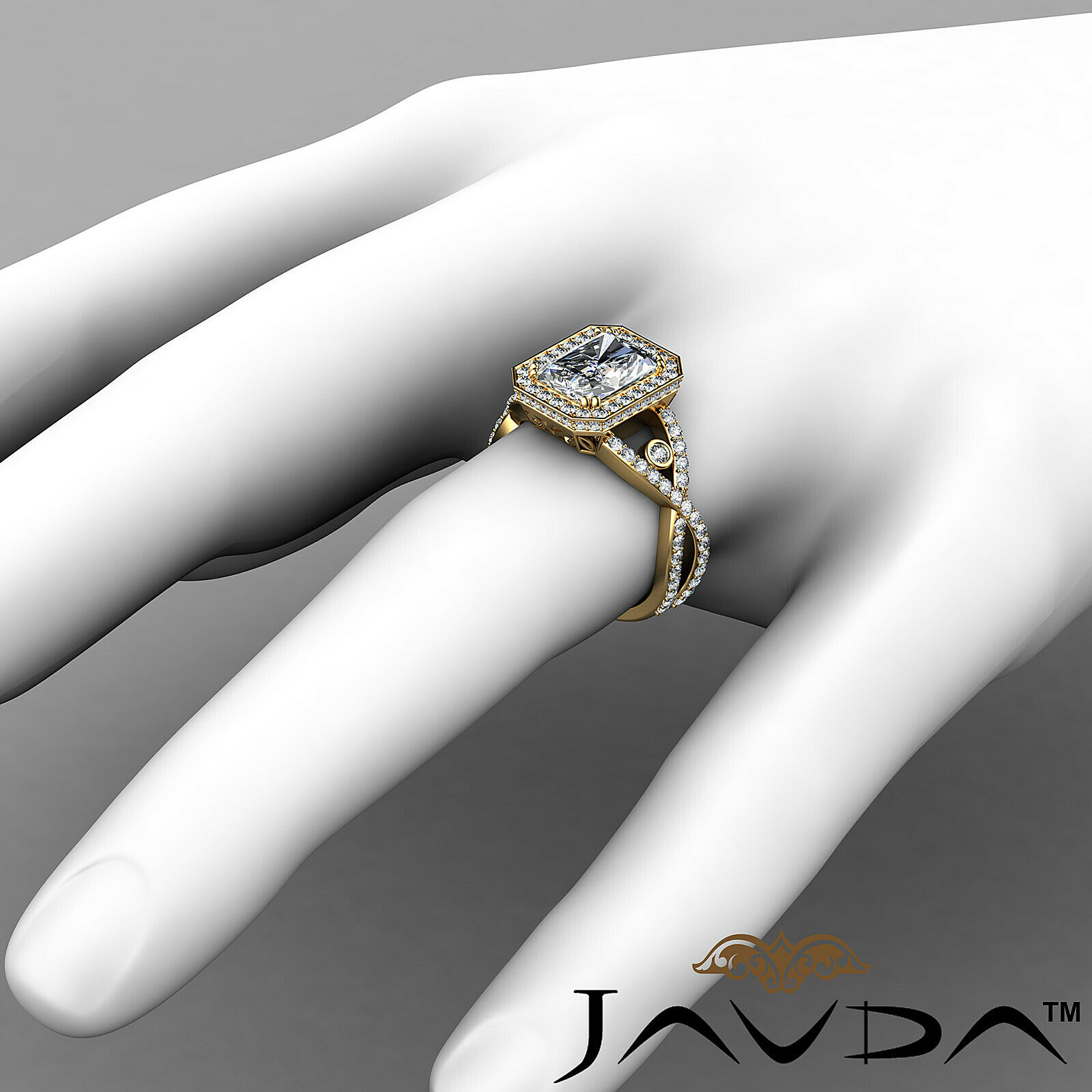 2.6ct Cross Shank Halo Pave Emerald Diamond Engagement Ring GIA F-VS1 White Gold 8