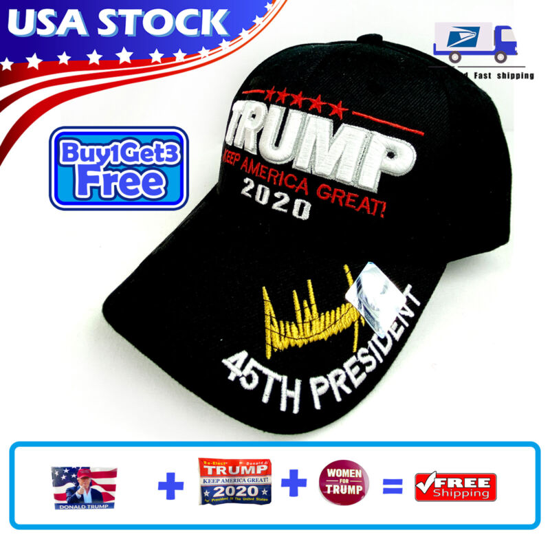 Black MAGA President Donald Trump 2020 Hat Keep America Great Embroidered Cap