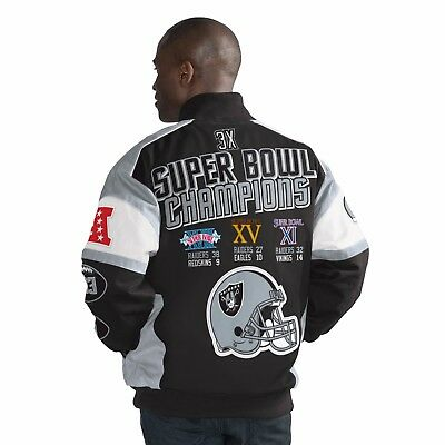 Oakland Raiders G Iii Legacy 3 Time Super Bowl Champions Cotton Twill Jacket