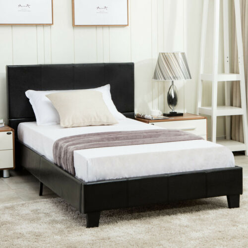 Full Size Leather Bed Frame Platform Wood Slats Home Bedroom