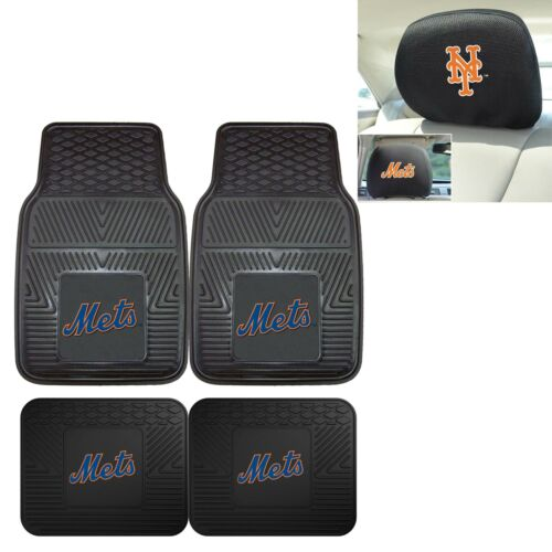 New York Mets 4 Piece Heavy Duty Viny Car Mats and Headrest