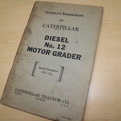 Cat Caterpillar 12 Motor Grader Owner Operator Maintenance Manual 8t Series Book