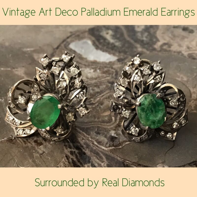 Vintage Art Deco Palladium Natural Emerald Earrings Surrounded by Real Diamonds