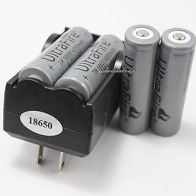 4 Pcs 18650 4200mAh 4.2v li-ion Lithium Ion Rechargeable Battery 2 Slots Charger on Rummage