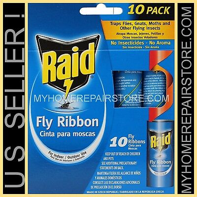10 / $ 9 — 1 PACK OF 10 — RAID FLY RIBBON — FLYING INSECT — GLUE STRIP —BUG TRAP
