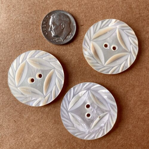 Three 1-1/8 Round Carved Mother Of Pearl Button, Antique Victorian  - $6.00
