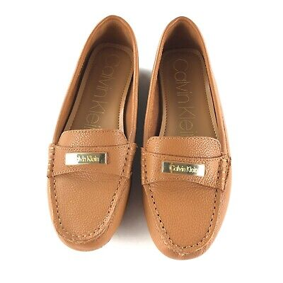 Calvin Klein Leather Tan Slip On Loafer Shoes Women Size 8.5 Excellent Condition