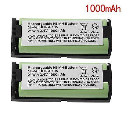 2x 1000mAh Replacement Battery For Panasonic HHR-P105A HHR-P105 Cordless Phone 1000 Cordless Phone Battery