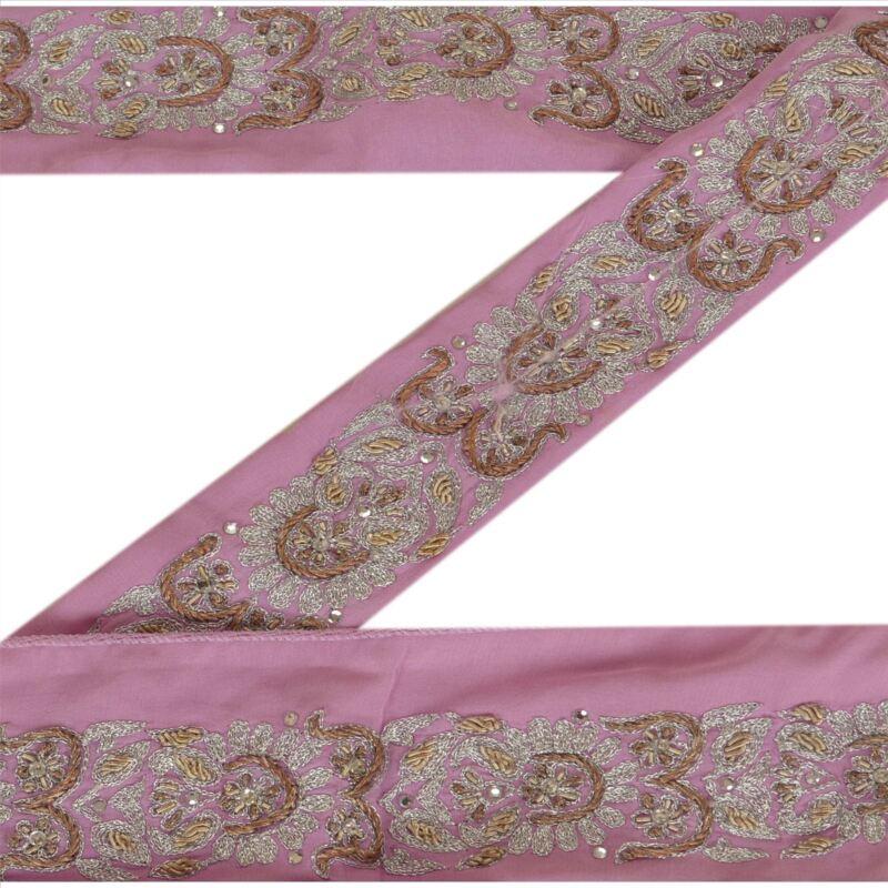Sanskriti Vintage Pink Sari Border Hand Beaded Indian Craft Trim Sewing Lace