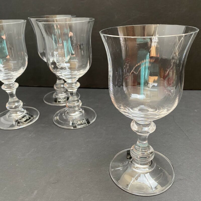4 Mikasa French Countryside Crystal Wine Glasses 6 3/4""