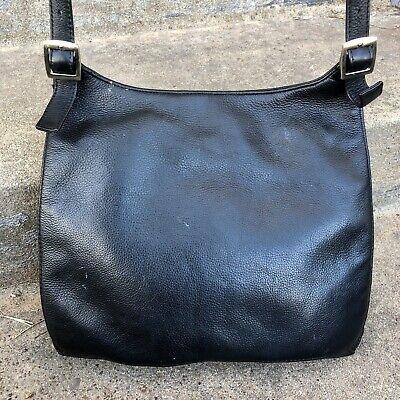 """- A.Giannetti Black """"Genuine Leather"""" Handbag Purse Shoulder Bag Flap Sling!"""