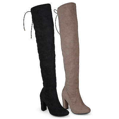 Brinley Co Womens Over the knee High Heel Regular and Wide Calf Boots New