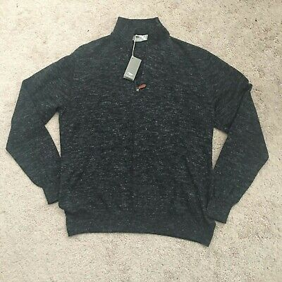 INIS MEAIN Mélange Wool and Linen Blend Half-Zip Sweater Size Medium Meáin NEW