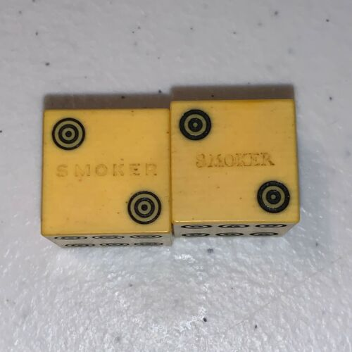 VINTAGE CELLULOID DICE PAIR MARKED SMOKER ANTIQUE LOT OF 2