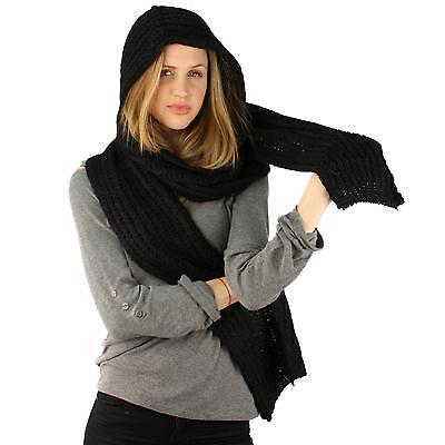 Winter Unisex Soft Pullover Hoodie Channel Knit Ski Hood Long Scarf Wrap Black