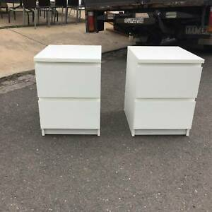 2X white bedside table, 2 drawer bedside tables WE CAN DELIVER