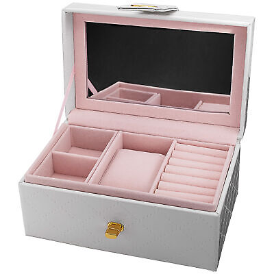 New Women's Burgi GB102 Pink Quilted Leatherette Jewelry & Watch Box / Gift Set