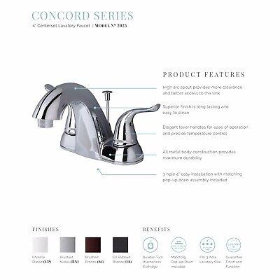 "Contemporary Bathroom Vanity Sink 4"" Centerset Bathroom Faucet Brushed Nickel 1"