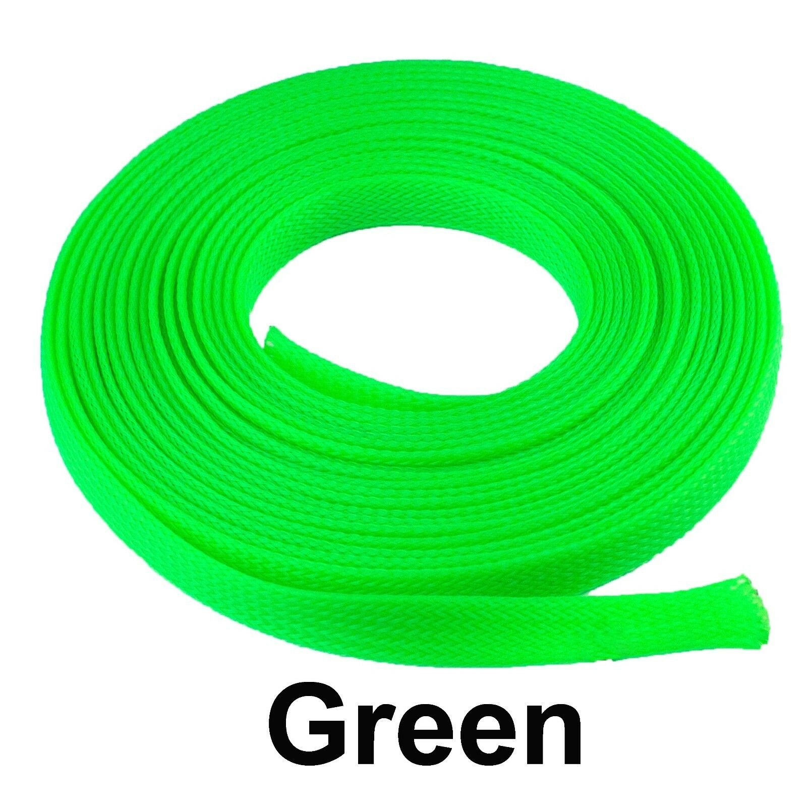 ALL SIZES & COLORS 5' FT - 100 Feet Expandable Cable Sleeving Braided Tubing LOT Green