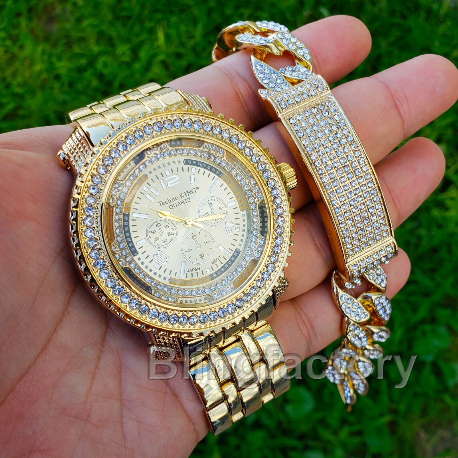 MEN'S HIP HOP GOLD PT URBAN STYLE WATCH & FULL ICED ID LAB D