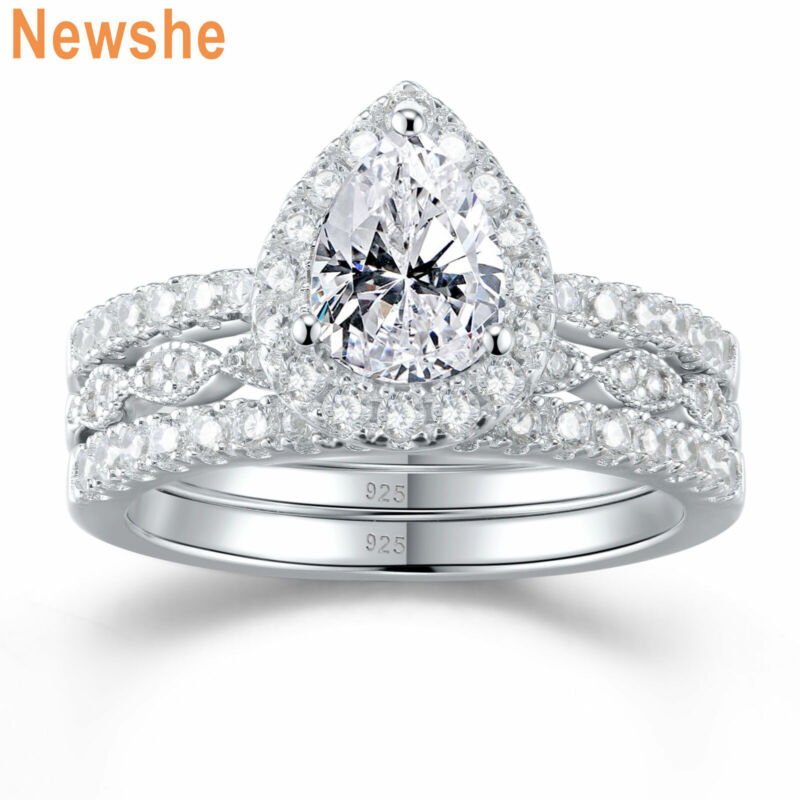 Newshe 3pcs Halo Pear Wedding Engagement Ring Set Women Sterling Silver Aaaa Cz