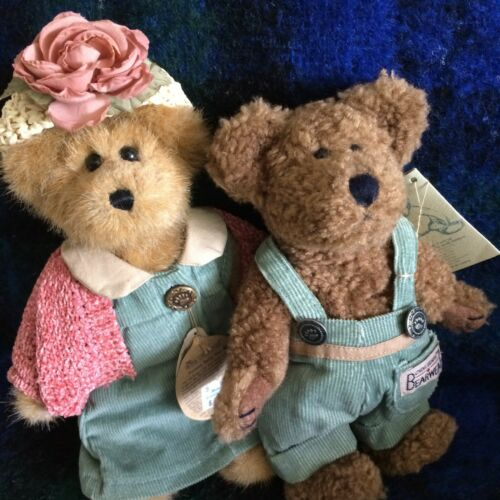 Boyds Bears lot of 2:  Bailey & Friend in green corduroy outfits