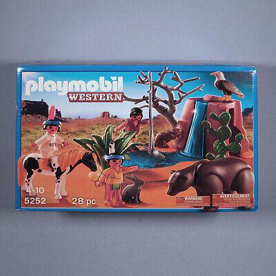 PLAYMOBIL Western 5252 Native American Children, Bear, Cave & Waterfall Set -