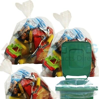 600 x Large CLEAR Refuse Sacks Bin Liner Rubbish Bags thick 160g 18x29x39