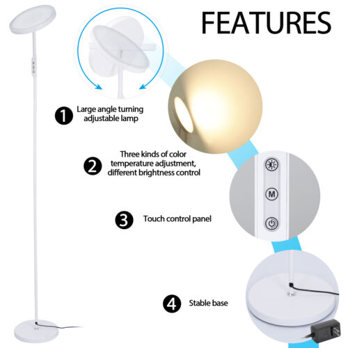 LED Floor Lamp High Lumen Light  for Living Rooms and Offices Dimmable Home & Garden