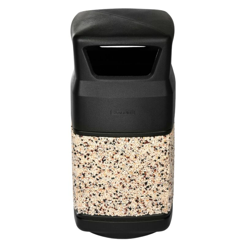 Alpine Industries 16 Gal Stone Panel Square Waste Outdoor Commercial Trash Can