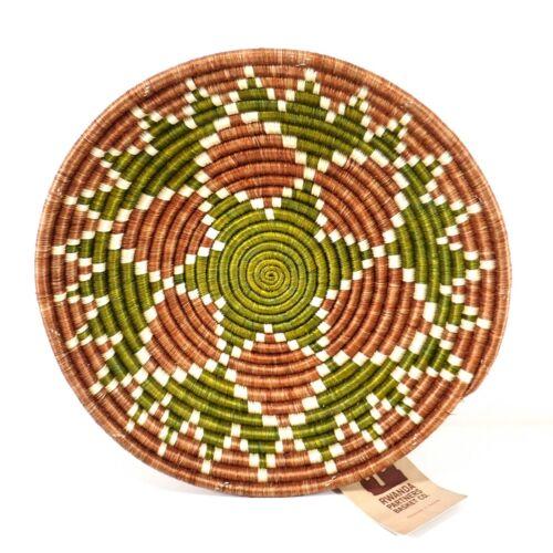 "New Large Rwanda Partner Centerpiece Basket Rust Green Sunburst 12"""