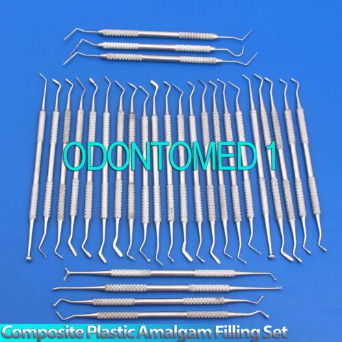 30 Pcs Dental Composite Plastic Amalgam Filling Restorative Instruments Set