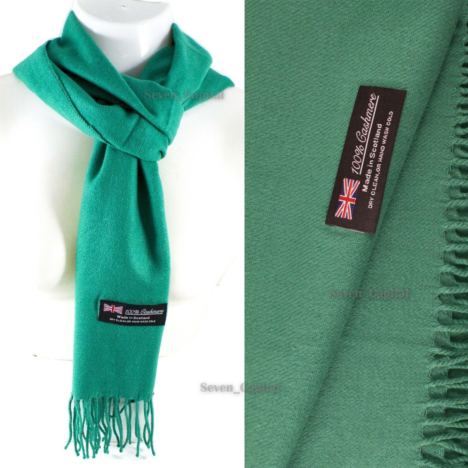 Mens Womens Winter Warm SCOTLAND Made 100% CASHMERE Scarf Scarves Plaid Wool 47. Plain: Green
