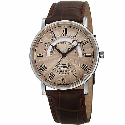 New Men's Akribos XXIV AK898BR Classy Day & Date Beige Dial Brown Leather Watch