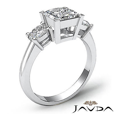 Classic 3 Stone Princess Diamond Engagement Prong Setting Ring GIA F SI1 1.5 Ct 1
