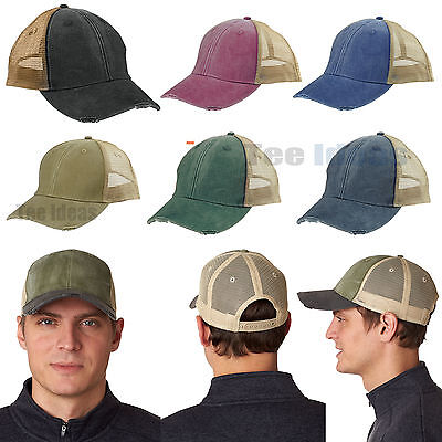 Adams 6-Panel Hat Pigment-Dyed Distressed Trucker Cap OL102 Adams, 6 Panel