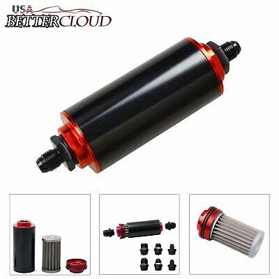 - Black&Red AN6 AN8 AN10 Inline Fuel Filter High FLOW 100 Micron Cleanable SS