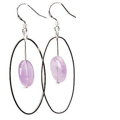 Semi Precious Stones Drop Dangle Earring Hoops on Sterling Silver French (Semi Hoop Wire Earrings)