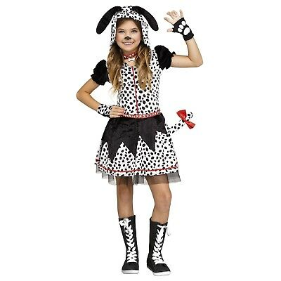 Child Girls Spotted Dalmatian Dog Puppy Tail Collar Halloween Costume Dress Med