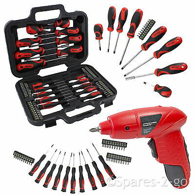Mini Cordless Rechargeable 4.8v Screwdriver + & 58 Piece Bit Tool Kit Set