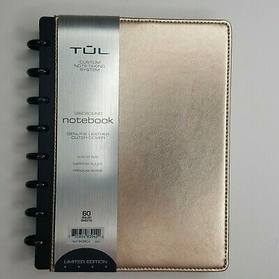 Tul Custom Note Taking System Discbound Leather Notebook Junior Size Gold
