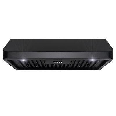 "36"" Under Cabinet Black Stainless Steel Push Panel Kitchen Range Hood Cook Fan"