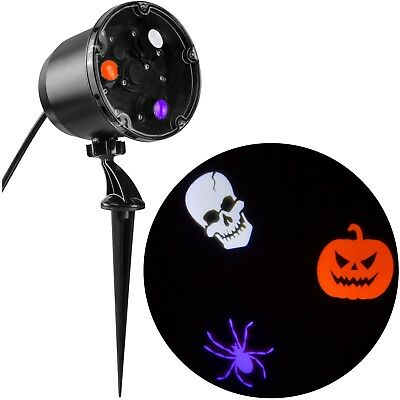GEMMY LED LIGHT SHOW HALLOWEEN PROJECTION SPINNING Skull Pumpkin Spider - Pumpkin Halloween Lights