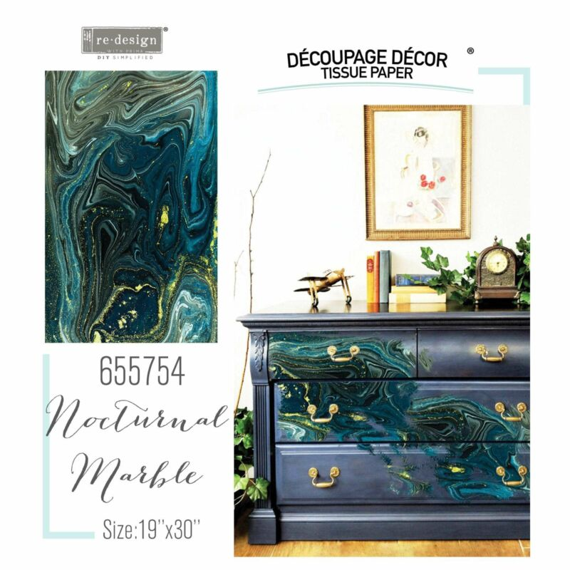 """Nocturnal Marble   Décor Decoupage Tissue   Redesign with Prima 19""""x30"""" Mulberry"""