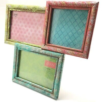 Distressed Blue Green & Red MDF 3 Opening Collage Frame Easel Back Wall Hanging Green Distressed Frame