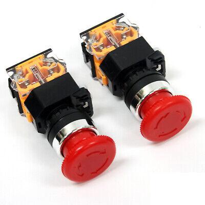 2pc Emergency Stop Push Button Mushroom Latching Switch 1no1nc 440v 10a